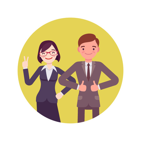 Office workers standing and smiling. Man and women in a formal wear. Cartoon vector flat-style business concept illustration Vettoriali