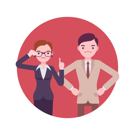 restrained: Strict office workers. Man and women in a formal wear. Cartoon vector flat-style business concept illustration