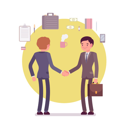 formal wear: Handshake. Business items around. Two men in a formal wear. Cartoon vector flat-style business concept illustration
