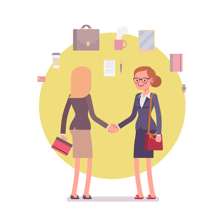 formal wear: Handshake. Business items around. Two women in a formal wear. Cartoon vector flat-style business concept illustration