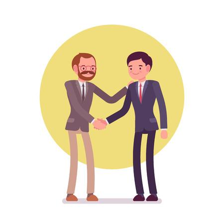 Hände schütteln. Zwei Männer in einem formellen Verschleiß. Cartoon Vektor-flat-Stil Business-Konzept Illustration