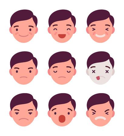 Ensemble de 9 émotions différentes. La colère et la joie. Surpris et blessé. Indifférence et choc. Le rire et le rêve. vecteur Cartoon style plat illustration Vecteurs
