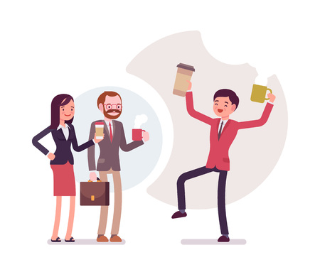 office wear: Office coffee lovers. Group of people in a formal wear. Cartoon vector flat-style business concept illustration Illustration