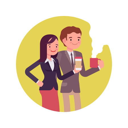 office wear: Office workers with coffee. Man and women in a formal wear. Cartoon vector flat-style business concept illustration Illustration
