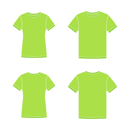 Mens and womens green short sleeve t-shirts templates. Front and back views. Vector flat illustrations Illustration