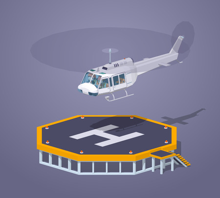 heli: Heli pad against the purple background. 3D lowpoly isometric vector illustration