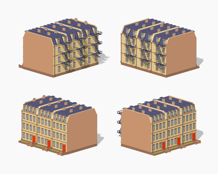 Brownstone town house. 3D lowpoly isometric vector illustration. The set of objects isolated against the white background and shown from different sides Illustration