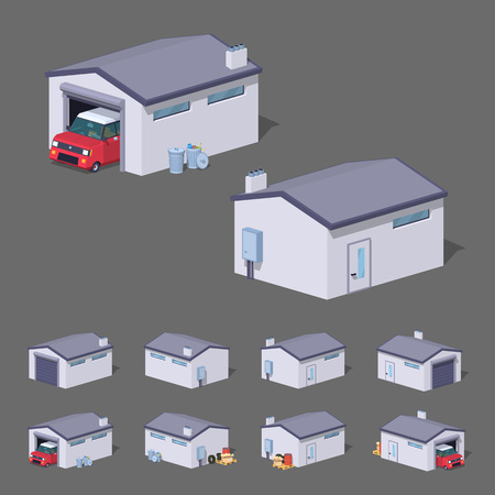 driveway: White garage. 3D lowpoly isometric vector illustration. The set of objects isolated against the grey background and shown from different sides