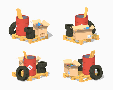 low tire: Pile of trash. 3D lowpoly isometric vector illustration. The set of objects isolated against the white background and shown from different sides