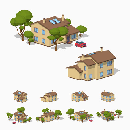 Suburban house. 3D lowpoly isometric vector illustration. The set of objects isolated against the white background and shown from different sides Vectores