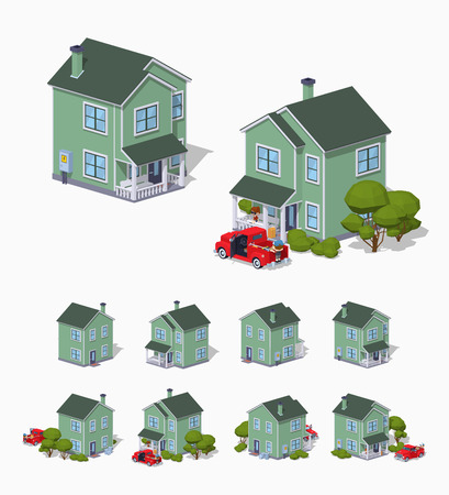 suburban house: Suburban house. 3D lowpoly isometric vector illustration. The set of objects isolated against the white background and shown from different sides Illustration