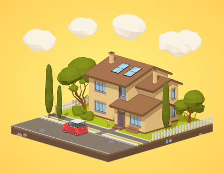 Suburban house. 3D lowpoly isometric vector concept illustration