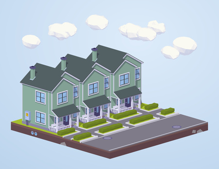 suburban: Suburban houses in line. 3D lowpoly isometric vector concept illustration