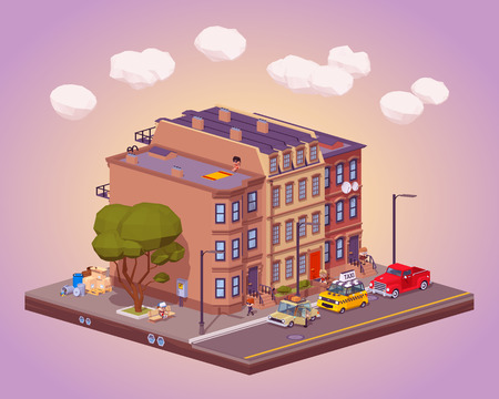 brownstone: Scene of the urban street life. 3D lowpoly isometric vector concept illustration Illustration
