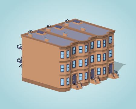 Brownstone maison de ville sur le fond bleu. isométrique illustration vectorielle 3D Vecteurs