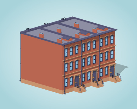 Brownstone town house against the blue background. 3D lowpoly isometric vector illustration
