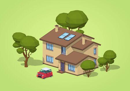 녹색 배경에 교외의 집입니다. 3D lowpoly 아이소 메트릭 벡터 일러스트 레이션 스톡 콘텐츠 - 61090328