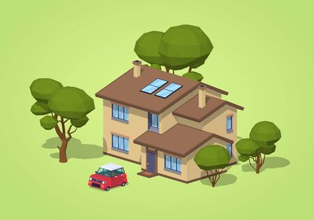 Suburban house against the green background. 3D lowpoly isometric vector illustration