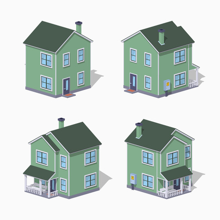 Suburban house. 3D lowpoly isometric vector illustration. The set of objects isolated against the white background and shown from different sides Illustration