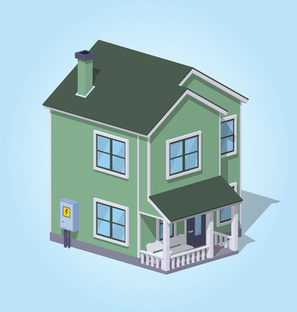 Low poly suburban house against the blue background. 3D lowpoly isometric vector illustration Illustration