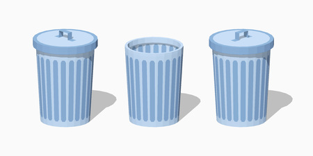sides: Low poly trash can. 3D lowpoly isometric vector illustration. The set of objects isolated against the white background and shown from different sides Illustration