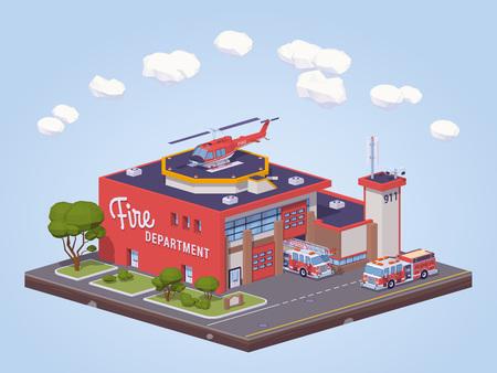 Estación de bomberos. ilustración vectorial isométrica en 3D lowpoly