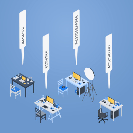 3d manager: Workplaces of the manager, designer, photographer and accountant. 3D isometric vector concept illustration Illustration