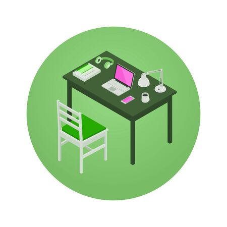 3d manager: Manager workplace. 3D isometric vector concept illustration Illustration