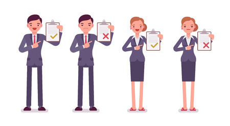 formal wear: Office workers with clipboards. Men and women in a formal wear. The set of characters isolated against the white background. Cartoon vector flat-style business concept illustration