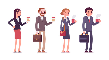 businesswoman skirt: Office workers with coffee. Men and women in a formal wear. The set of characters isolated against the white background. Cartoon vector flat-style business concept illustration