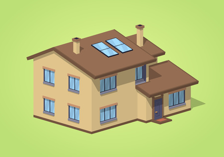 suburban home: Suburban house against the green background. 3D lowpoly isometric vector illustration