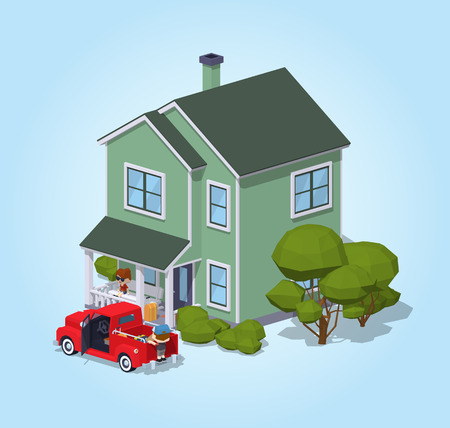 siding: Suburban house against the blue background. 3D lowpoly isometric vector illustration