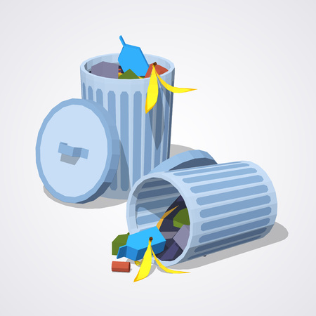 Full trash can against the white background. 3D lowpoly isometric vector illustration