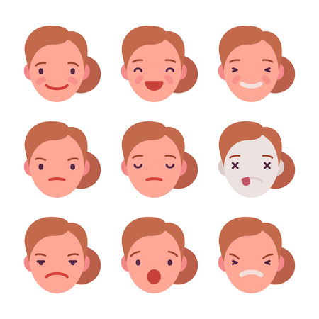 Set of 9 different emotions. Anger and joy. Surprised and hurt. Indifference and shock. Laughter and dream. Cartoon vector flat-style illustration