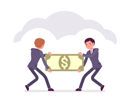 cloude: Two businessmen are pulling the papernote to each other. Cartoon vector flat-style business concept illustration Illustration