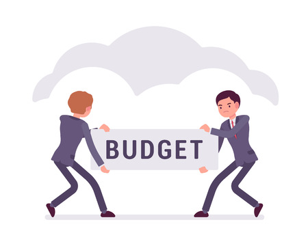 conflicting: Two businessmen are pulling the budget to each other. Cartoon vector flat-style business concept illustration