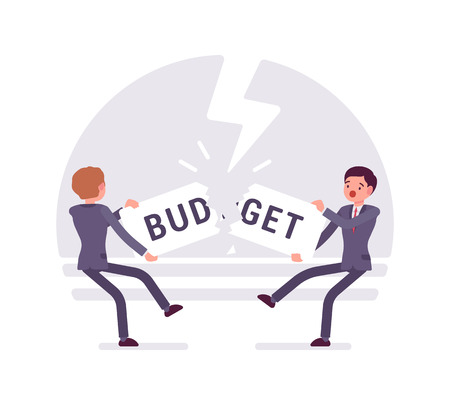 fall about: Two businessmen are pulling the word budget to each other and tearing it. Thunder background, characters are about to fall down. Cartoon vector flat-style business concept illustration