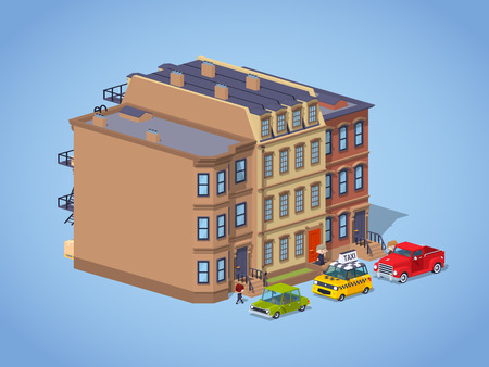 brownstone: Brownstone town house against the blue background. 3D lowpoly isometric vector illustration