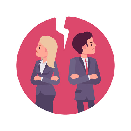 sullenly: Bad business relationship. Man and woman in a formal wear. Cartoon vector flat-style business concept illustration
