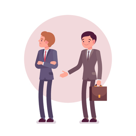 rejection: Rejection of handshake. Two men in a formal wear. Cartoon vector flat-style business concept illustration