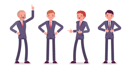 formal wear: Set of four business male characters. Finger up, akimbo, gun, thumb up. Men are in a formal wear. The set of characters isolated against the white background. Cartoon vector flat-style illustration
