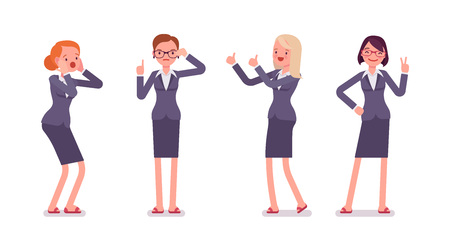 formal wear: Set of four business female characters. Surprised, instructive, strict, thumb up, vicory. Women are in a formal wear. The set of characters isolated against the white background. Cartoon vector flat-style illustration
