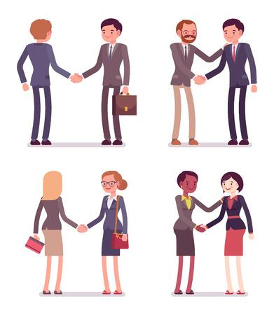 Ensemble de quatre paires handshaking. Les hommes et les femmes sont dans une usure formelle. L'ensemble des personnages isolés sur le fond blanc. vecteur Cartoon business illustration de style appartement Banque d'images - 61384426