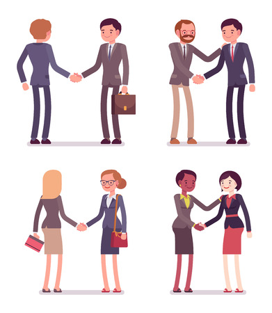 Set of four pairs handshaking. Men and women are in a formal wear. The set of characters isolated against the white background. Cartoon vector flat-style business illustration Vettoriali