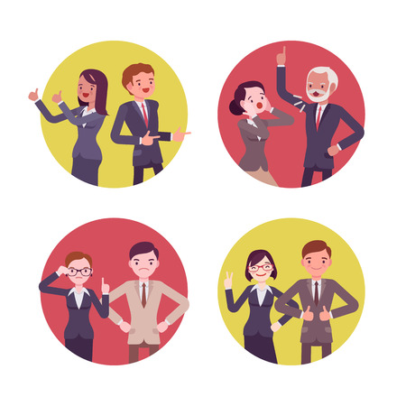 up skirt: Set of four business scences. Office workers in gun poses, quarelling, positive, strict. Cartoon vector flat-style concept illustration Illustration