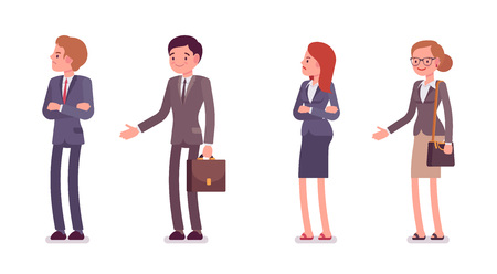 offence: Refusing a handshake. Men and women are in a formal wear. The set of characters isolated against the white background. Cartoon vector flat-style business illustration