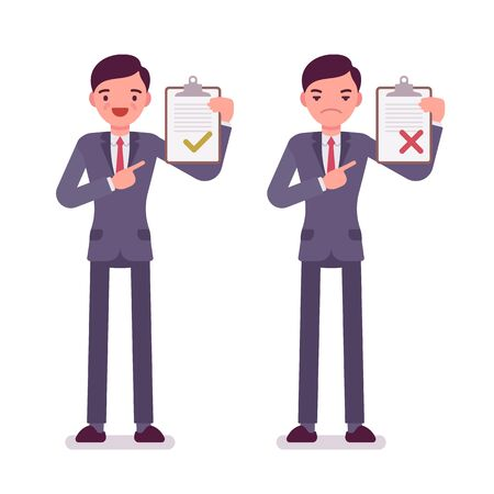 office wear: Office workers with clipboards. Men are in a formal wear. The set of characters isolated against the white background. Cartoon vector flat-style business illustration