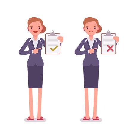 Büroangestellte mit Ablagen. Frauen sind in einem formellen Verschleiß. Der Satz von Zeichen vor dem weißen Hintergrund isoliert. Cartoon Vektor-flat-Stil Business Illustration