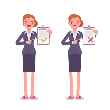 Office workers with clipboards. Women are in a formal wear. The set of characters isolated against the white background. Cartoon vector flat-style business illustration Vettoriali