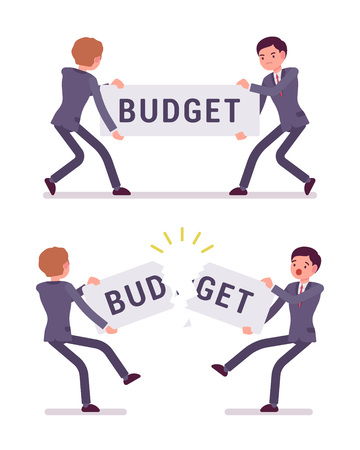 Businessmen are pulling and tearing a word budget. Cartoon vector flat-style concept illustration Illustration